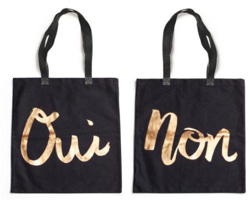 Oui or Non Black Tote Bags