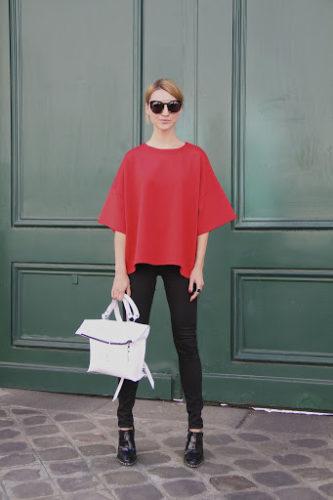 Woman wearing Red Top, Black Pants