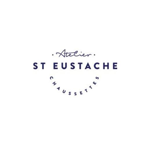 Atelier St Eustahe Socks Logo Blue, White background