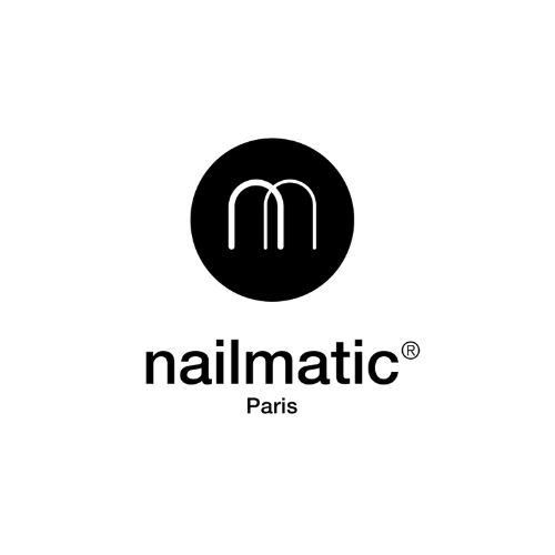 nailmatic black logo, white background