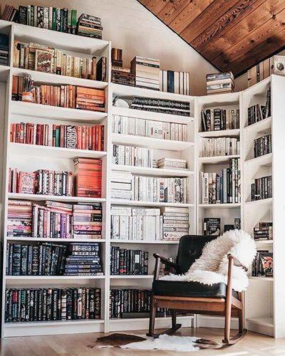 color blocked bookshelf