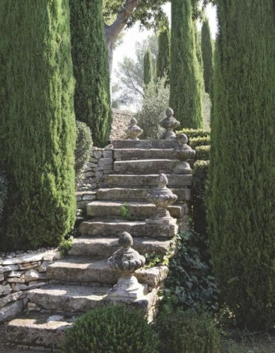 stone stairwell leading up garden path