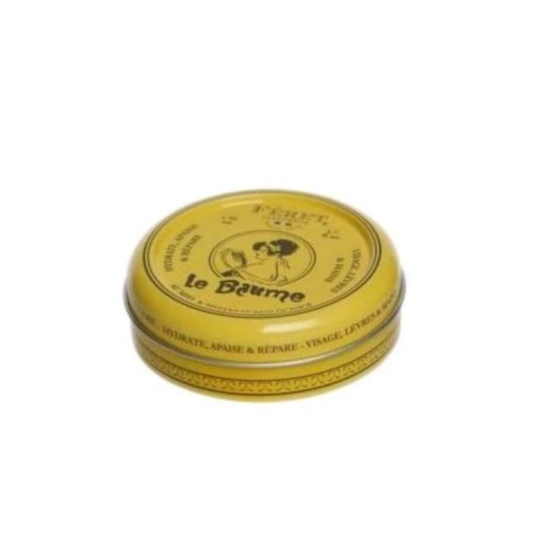 Feret Parfumeur Lip Balm, Yellow Tin Can, White BG