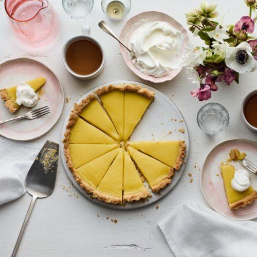Lemon Curd Tart pie sliced
