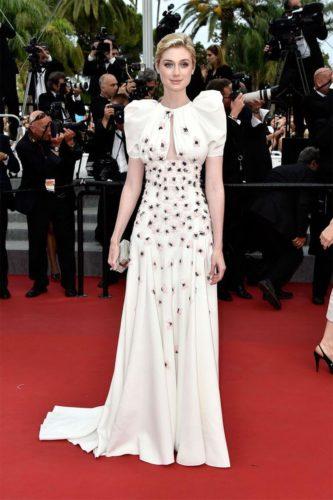 Elizabeth Debecki in white dress
