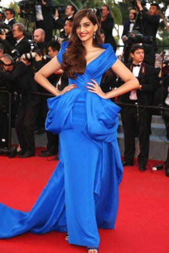 Sonam Kapoor in Blue red carpet dress Cannes Film Festival