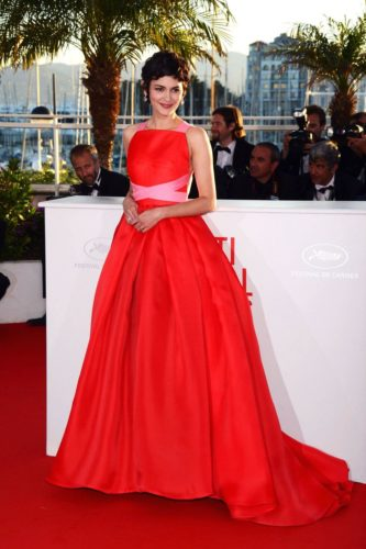 Andrey Tatou in Red Ballgown