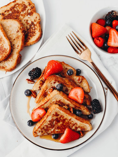 French Toast on a plate with fruit