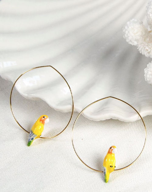 YELOW PARROT BIRD HOOP EARRINGS