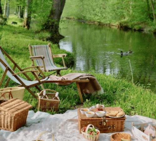 Wooden chair at lake, outdoor picninc