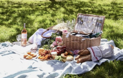 Outdoor picnic with food and blanket