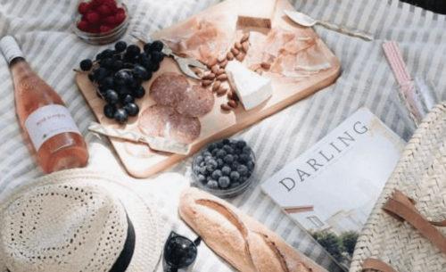 cheese board, wine, outdoor picnic