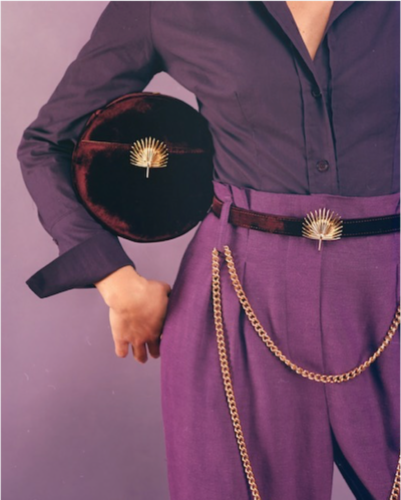purple outfit, velvet purse