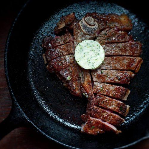 steak in skillet