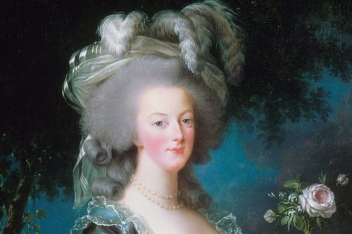 Marie Antoinette with feathers in hair