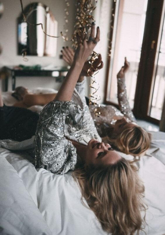 woman on bed, blonde hair