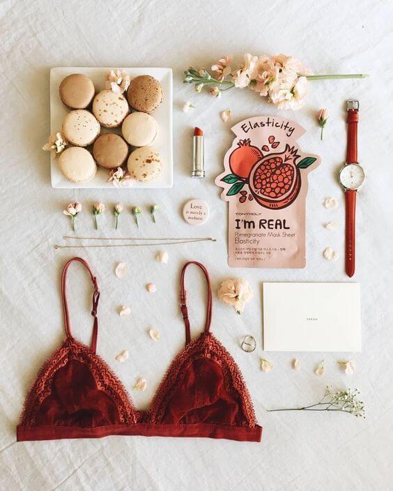 product flatlay, macaroons, bralette