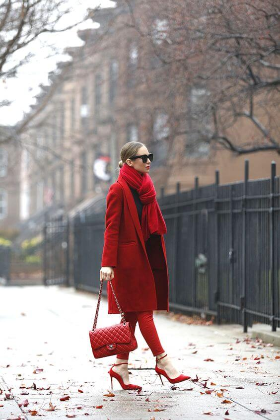 WOMAN WEARING RED