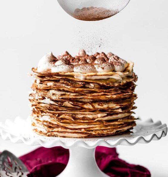 Crêpe Cake on cake stand