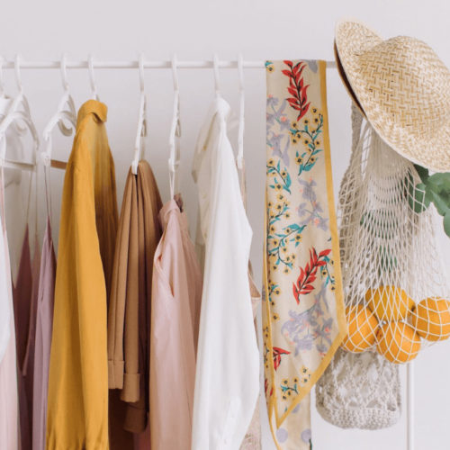 Summer clothing on a rack