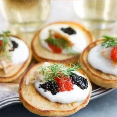 Caviar with creme fraiche